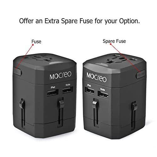Universal AC Socket International Travel Charger Adapter World Plug Adapter Built-in 2.1A Dual USB Ports Safety Fuse Black MOCREO/® Travel Adapter