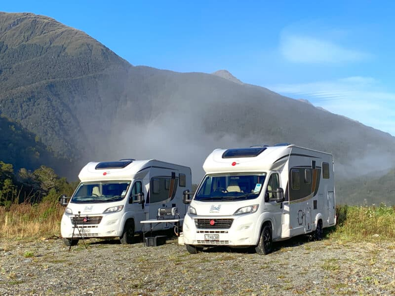 Our Wilderness Motorhome rentals parked in a classic Freedom Camping spot in NZ