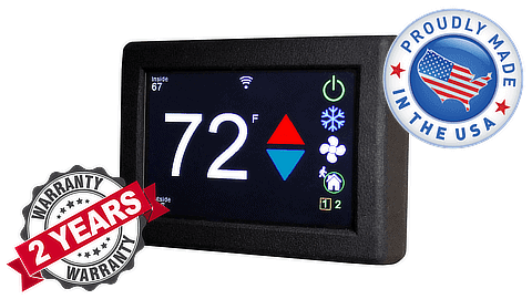 Micro-Air EasyTouch RV Thermostat with 2-year warranty and Made In USA badges