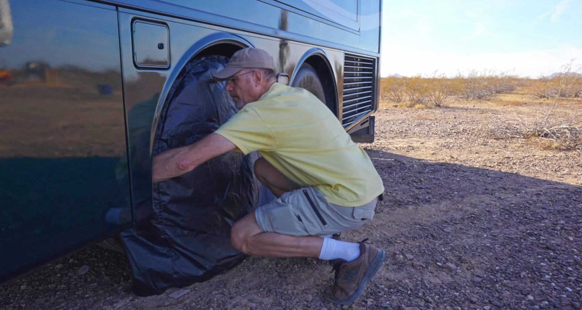 RV Tire Covers that go on easy are great, like these SnapRing TireSavers