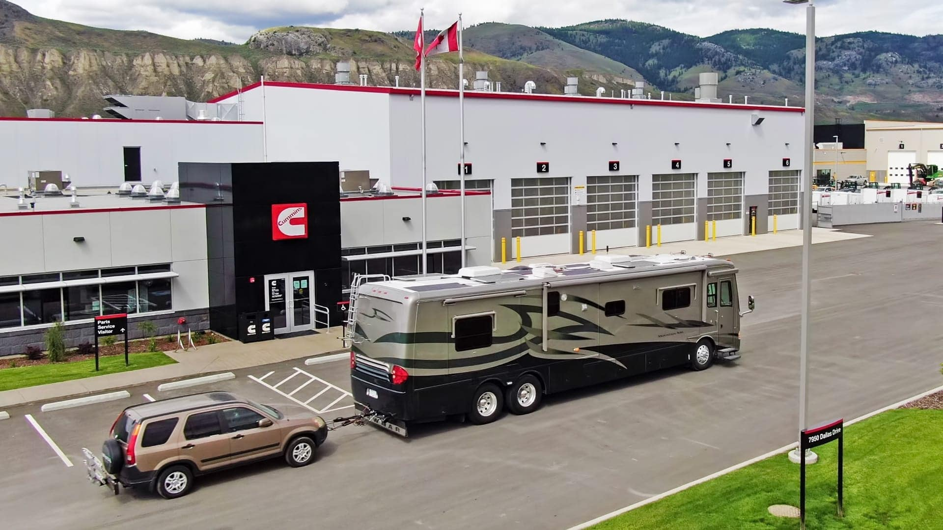 Our RV in front of Cummins Coach Care in Kamloops, BC