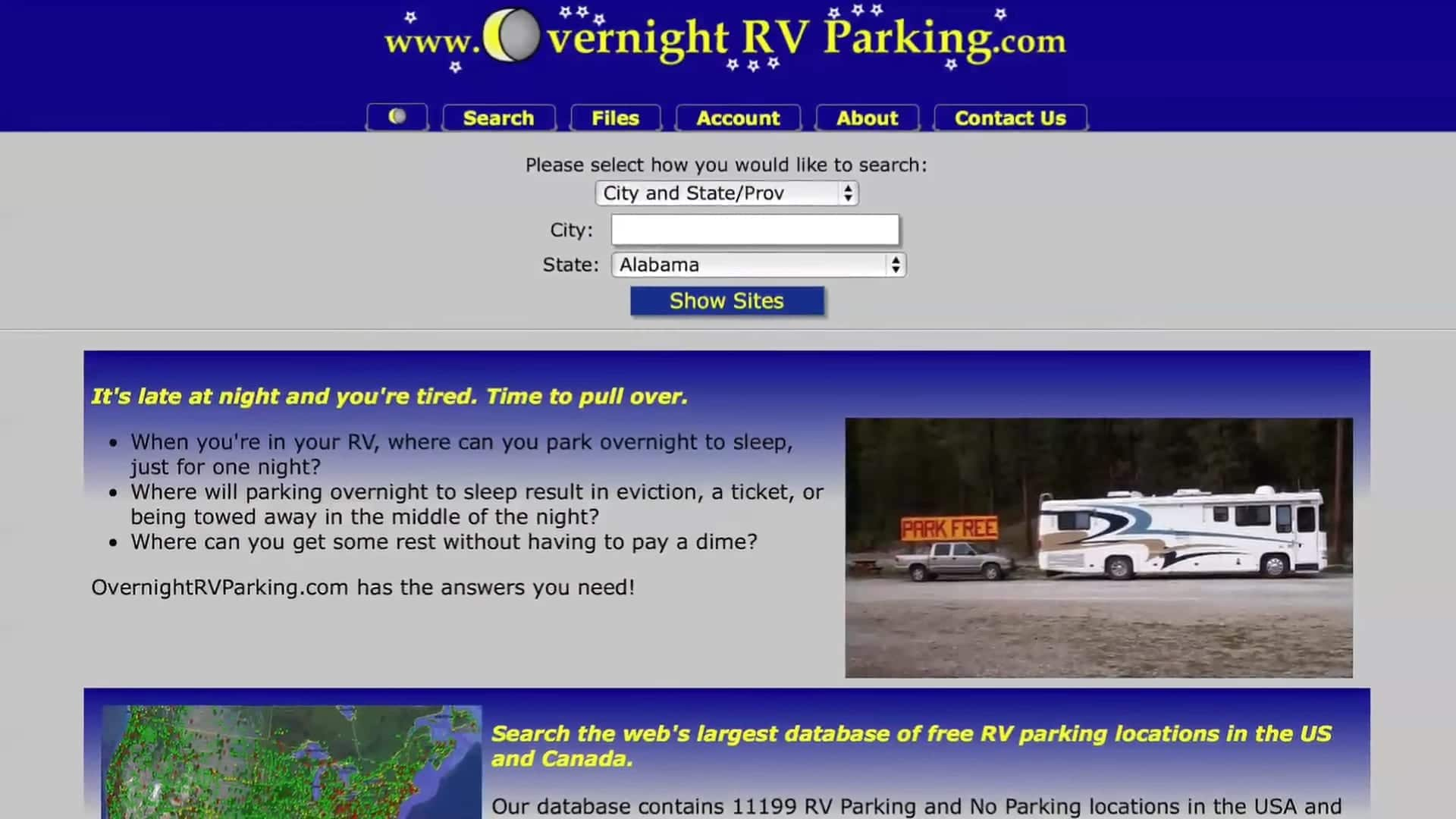 OvernightRVParking, a free app with information on free overnight parking in the US and Canada
