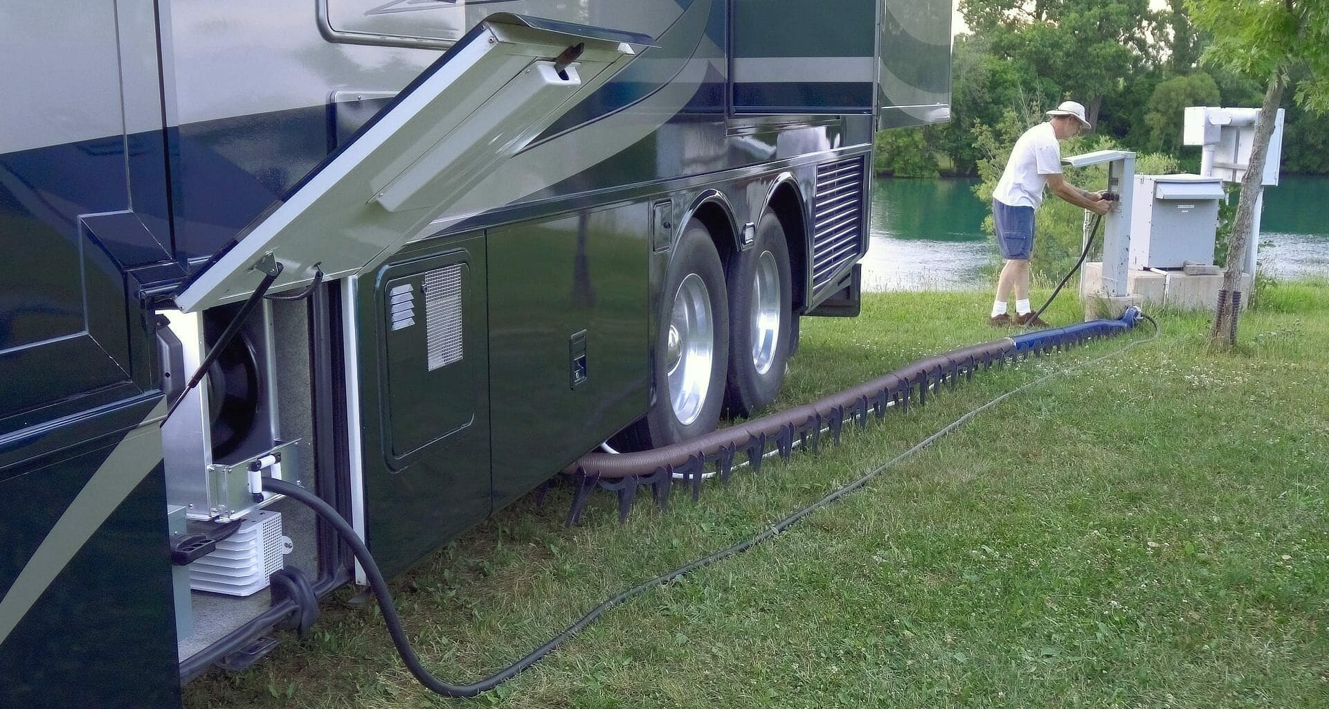 Hooking up an RV at a full hook-up campsite
