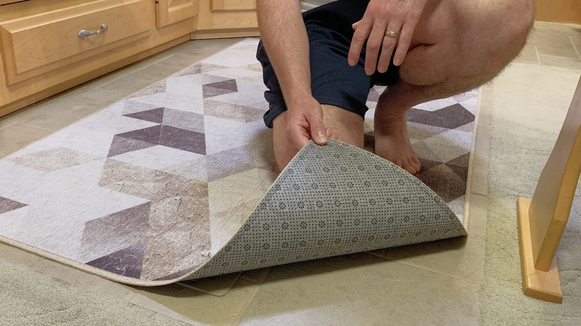 The non-slip backing on our My Magic Carpet washable rugs