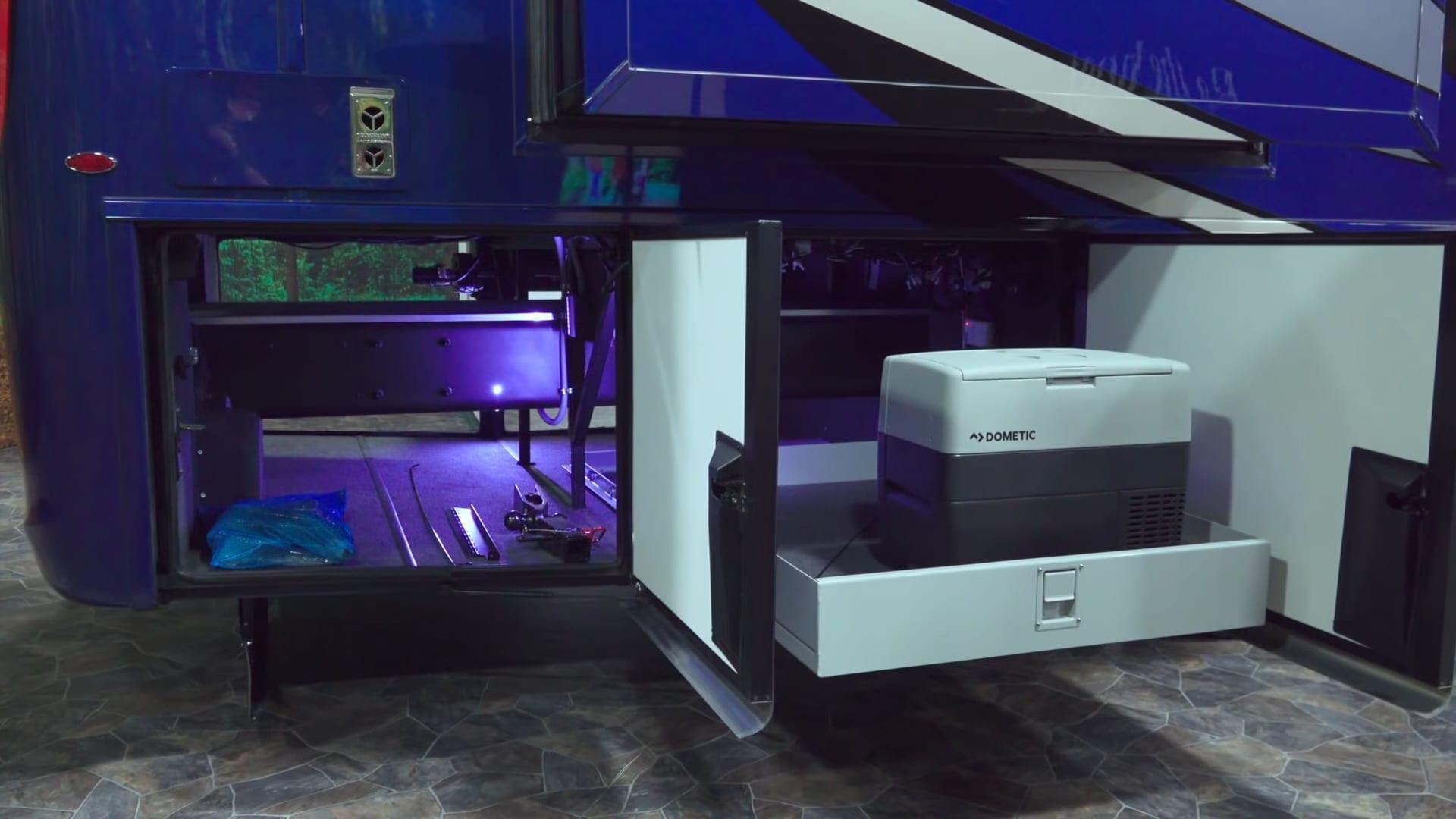 Super C RVs have multiple large storage bays.