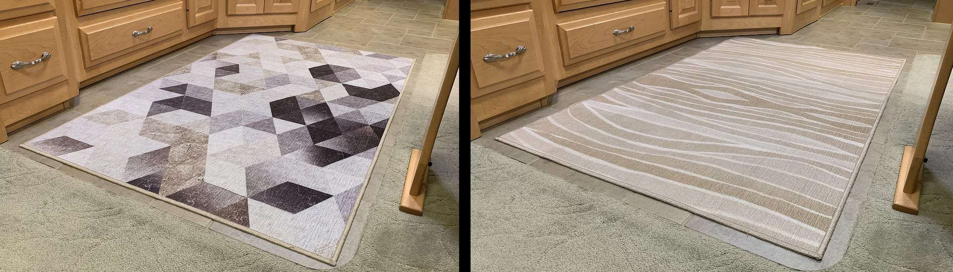 Two different washable rugs give our RV a totally different look